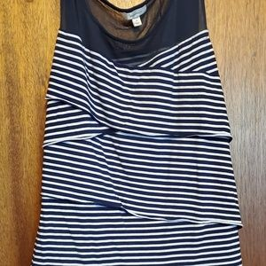 Navy and white stripped top